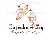 SALE OOAK Character illustrated Premade Cupcake Fairy Logo design - Will not be resold
