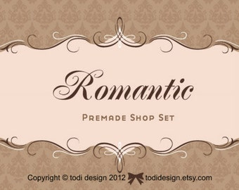 ROMANTIC Premade shop set & business card design