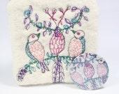 ON SALE Handmade Felt Change Purse Embroidered Birds in Tree & Mirror