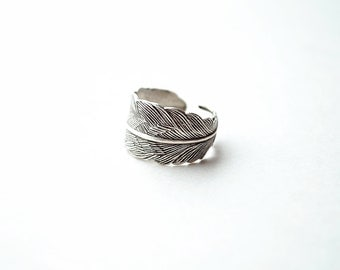 Silver Feather Ring - Silver Feather Jewelry, Sterling Silver, Feather Ring, Bohemian, Gift for Her