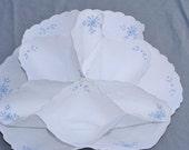 Vintage Embroidered Linen Tea Biscuit Cloth Basket