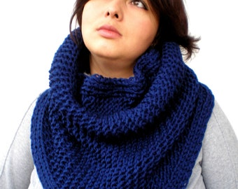 Meednight Blue Big Design Cowl Super Soft New mixed Wool Neckwarmer Woman Cowl NEW