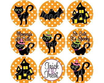 Bat Witch Hat Black Cat Halloween 1 Inch Circles Collage Sheet For Bottlecaps Hairbows Jewelry Magnets Stickers INSTANT DOWNLOAD