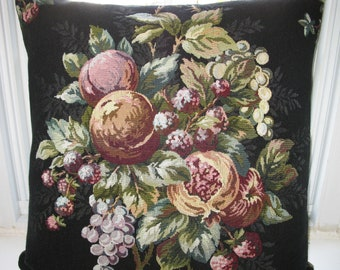 Fabric Tapestry  20x20 inches Pillow  Cover.  Lovely  Burgundy, Pink and Cream Fruit design on black fabric.