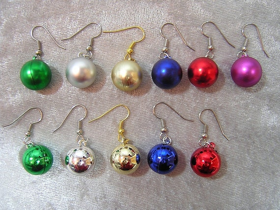 Color Choices: Christmas Ornament Earrings - Your Choice of Color - Handmade by Rewondered D225E-55514 - $5.95