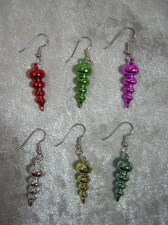 Color Choices: Bubble Christmas Ornament Earrings - Your Choice of Color - Handmade by Rewondered D225E-55515 - $7.95