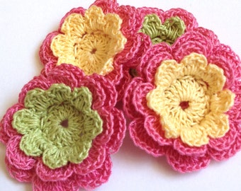 Crochet Flower Appliques - 4 Three Layer Thread Flowers