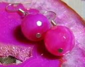 Hot Pink Agate Earrings - pretty Fuschia natural semiprecious gemstone dangle earrings with Sterling Silver hooks
