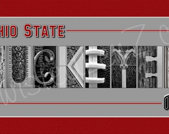 Ohio State University Buckeyes Alphabet Photo Collage