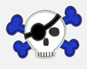 One Eye Skull...Embroidery Applique Design...Three sizes for multiple hoops...Item1340...INSTANT DOWNLOAD