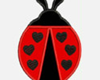Lady Bug Hearts...Embroidery Applique Design...Three sizes for multiple hoops...Item1499...INSTANT DOWNLOAD