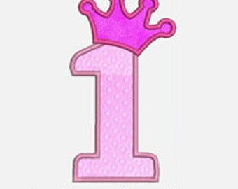 Princess Numbers 1-9...Embroidery Applique Design...Three sizes for multiple hoops...Item1017...INSTANT DOWNLOAD.