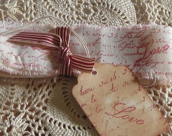Hand Cut, Fringed and Stamped Muslin Ribbon Love Script