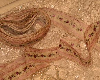 French Country Vintage Hand Distressed Ribbon ECS