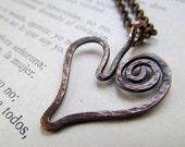 Hammered Copper Heart Pendant, simple, artisan, spiral, rolo chain, rustic