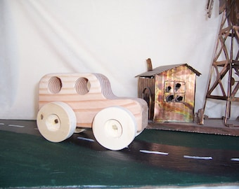 Toy Truck Big Wheel SUV 4x4 Handmade from Upcycled Wood for the Kids,Toddlers