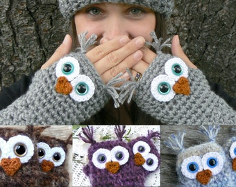 Design Your Own Fingerless Owl Gloves with Acrylic Yarn and Safety Eyes in Woman's size Regular or Large