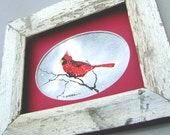 Mothers Day gift Handmade Watercolor of a Red Cardinal perched on a branch