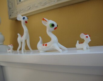 A Set of Four Authentic Bone China Miniature Dogs Puppies Deer Figurines Toys Dollhouse