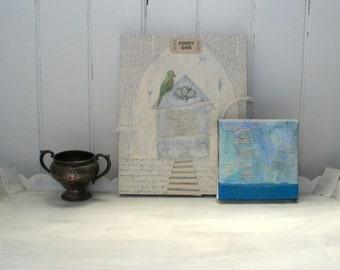 horizon - mixed media collage, nautical art, landscape art, abstract landscape, blue art, collage art, beach decor, ocean art, beach artwork