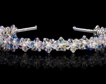 Crystal Daisy Tiara made with Swarovski crystals and Pearls. Silver Plated - Non Tarnish