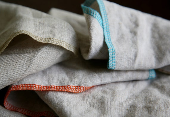 RESERVED Natural Linen Napkins - Pure Linen Eco Cloth, Oatmeal w/Wide Stitch