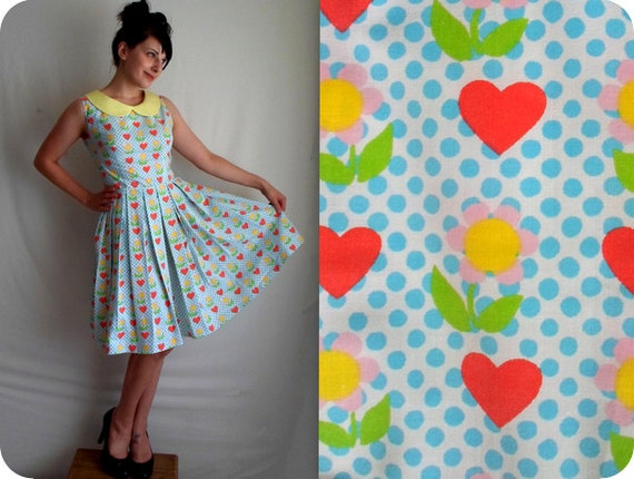 RESERVED FOR RACHEL Polka Dot Heart & Floral Print Dress with Peter Pan Collar