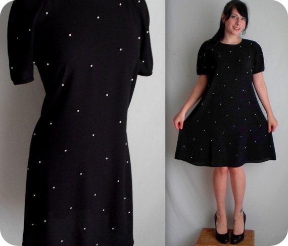 Black & White Pearl Bead Embellished Dress