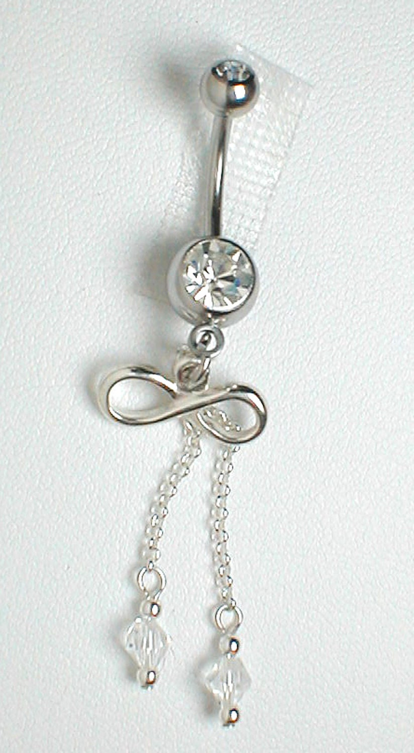 unique belly ring sterling silver infinity w or without
