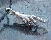 HAND Holding  Terminated QUARTZ Crystal in a KAM Custom Sterling Silver Design