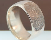 Personalized Unisex Fingerprint Sterling Silver band