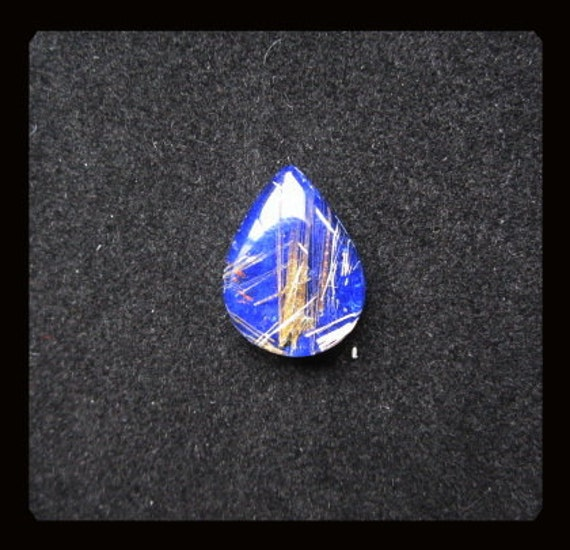Gold Rutilated Quartz,Lapis Lazuli, Intarsia Cabochon,16x12x5mm,1.77g