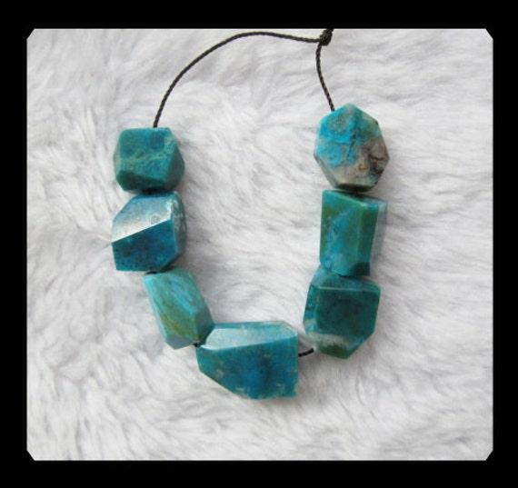 SALE,7 PCS Blue Opal Faceted Pendant Beads Set,20.8g