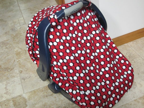 Unique Fitted BOY Car Seat Canopy with Velcro Closure and Elastic-------Last One Fabric Discontinued