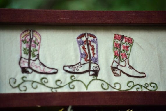 CLEARANCE SALE // 30% off - Framed Hand Embroidery - Romantic Cowgirl Boots