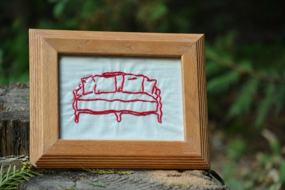Reserved - Framed Hand Embroidery // Vintage Couch // Farmhouse Decor