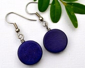 Navy Blue Wood Rounds . Earrings . Willow Collection