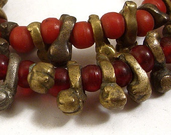 Igbo Bug Handcast Brass Red Translucent Beads African 66309