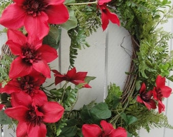 Red Clematis Wreath     Mothers Day Gift   Red Wreath   Front Door Wreath   Spring and Summer Wreath  Faux Wreath  Outdoor Wreath