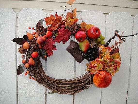 Autumn Wreath  NOW ON SALE    Harvest Wreath   Hand Crafted Wreath    Front Door Wreath  Fall Decor  Thanksgiving Decor