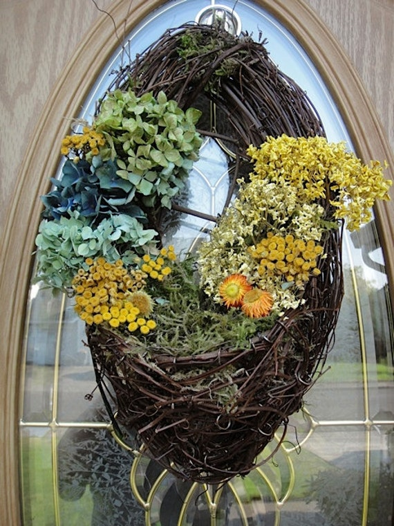 Spring and Summer Basket Wreath  Easter Wreath  Mothers Day  Hydrangeas