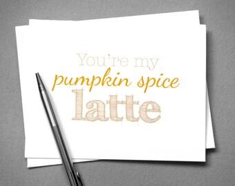 Pumpkin Spice Latte Love Card. Fall Printable Card. Friendship Card. Instant Download. Digital Download. Coffee Love Card. Autumn Printable.