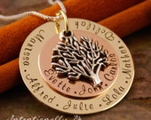 Personalized Jewlery - Hand Stamped Mommy - Grandma Necklace - Ultimate Big Family tree pendant