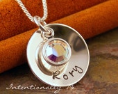Hand Stamped Mommy Necklace - Personalized Jewerly - Sterling Silver Hand Stamped Cup with Birthstone