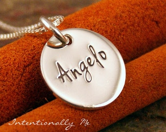 Personalized Necklace - Hand Stamped Mommy Jewelry - Sterling Silver Necklace - Mini Name Tag