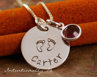 Personalized Necklace - Hand Stamped Mommy Necklace- Sterling Silver Jewelry - My Baby Necklace (with footprints)