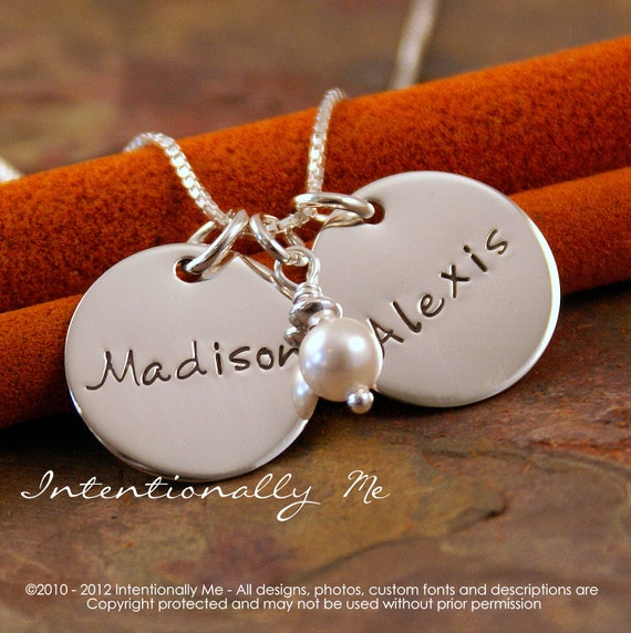 Hand Stamped Mommy Necklace - Personalized Sterling Silver Jewelry - Flat Name Across Tag Duet with pearl