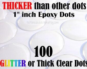 "100 - 1"" Epoxy Clear 2.3mm THICK Circle Dots or Glitter (Premium Polyurethane)"