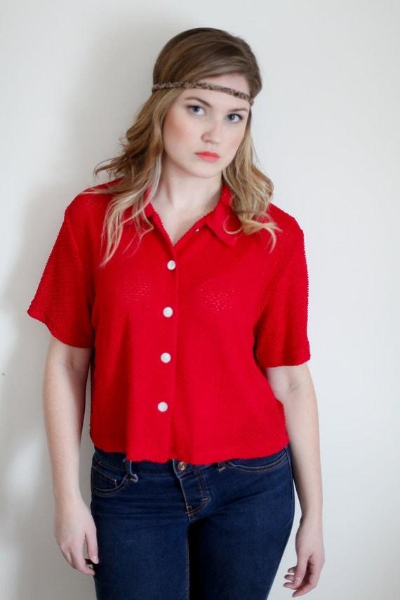 Hot Red Vintage Blouse