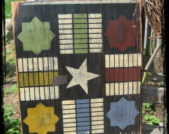 Primitive Folk Art Game Board, Primitive Parcheesi Board, Wood Gameboard
